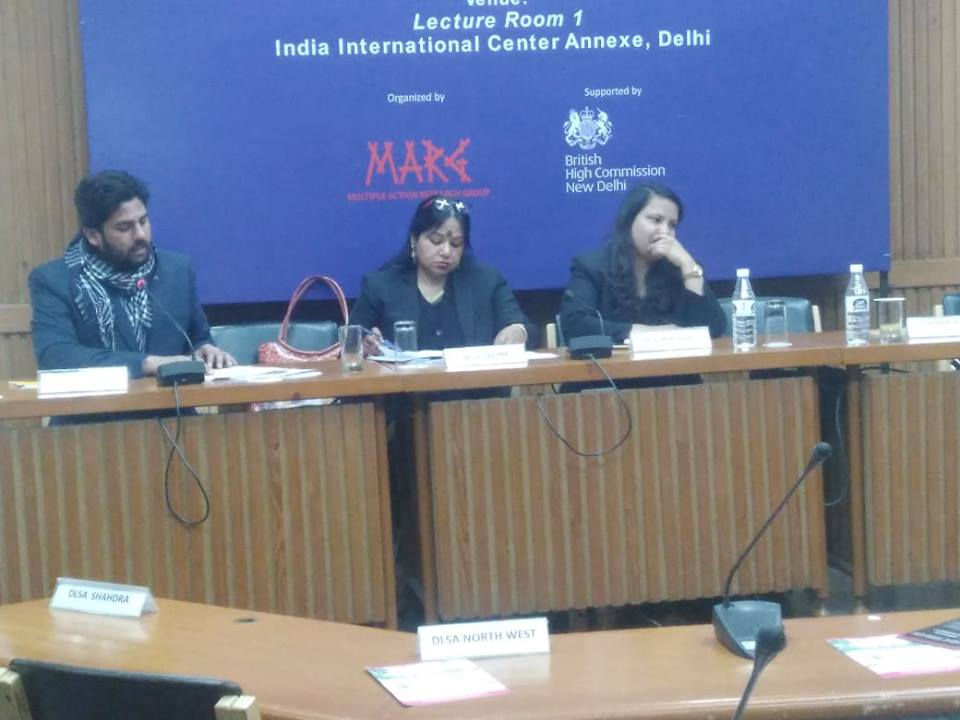 Left to Right Md. Noor Alam, Executive Director, MARG, Ms Anurag Rita, Pannel Lawyer, South Delhi Legal Services Authority and Ms. Kirti Parmar, Pannel Lawyer, North East Delhi Legal Services Authority,